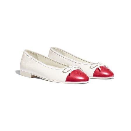 Calfskin & Patent Calfskin White & Red Ballerinas | CHANEL