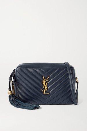 Lou Quilted Leather Shoulder Bag - Navy