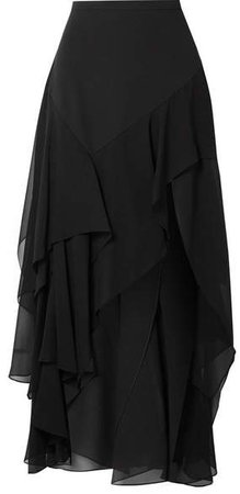 Tiered Silk-crepe And Georgette Maxi Skirt - Black