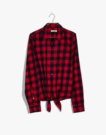 Flannel Tie-Front Shirt in Buffalo Check