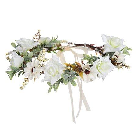 Amazon.com : Leaf Flower Crown Garland Headpiece - Handmade Hair Garland Floral Wreath Adjusatble Flower Headbands for Bridal Wedding Festival Party Flower Leaves Crown (Cream white) : Beauty