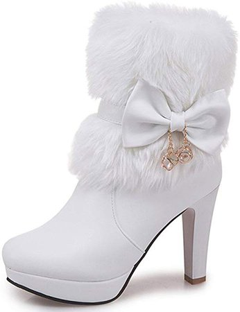 Amazon.com | IDIFU Women's Elegant Fluffy Fur Zip Up Chunky High Heeled Pointy Toe Ankle Boots with Bows | Ankle & Bootie