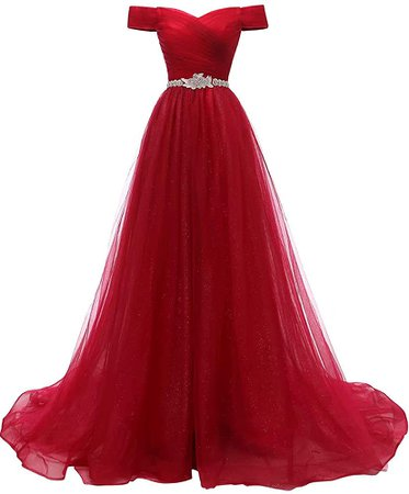 Amazon.com: AiniDress Women's A-line Tulle Off the Shoulder Prom Ball Gown 14 Rose Red: Clothing