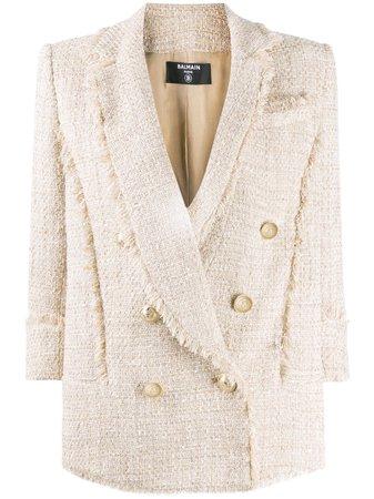 Balmain Double-Breasted Tweed Blazer Ss20