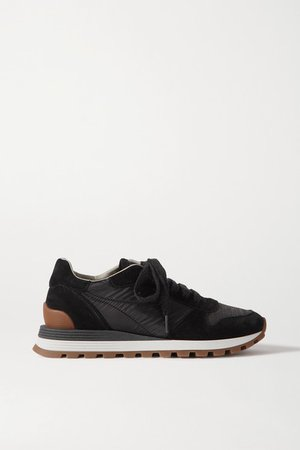 Bead-embellished Nylon And Suede Sneakers - Black