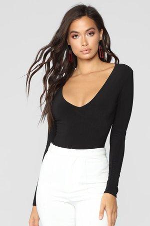 Louise V Neck Bodysuit - Black – Fashion Nova