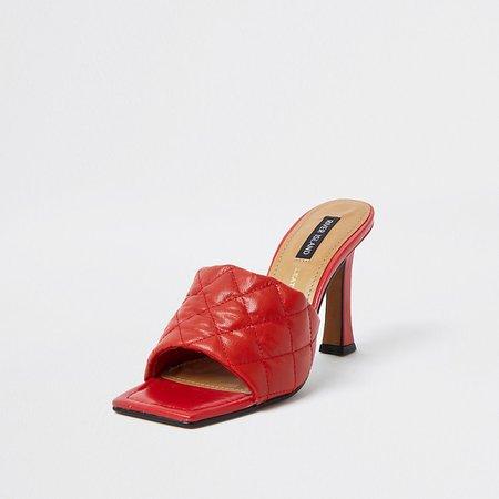 Red woven square toe mule sandal | River Island