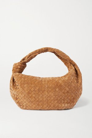 Jodie Knotted Intrecciato Suede Tote - Light brown