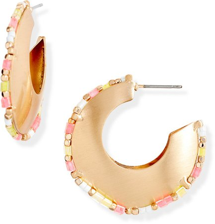 Bead Trim Hoop Earrings