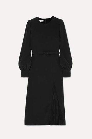 Belted Crepe Midi Dress - Black