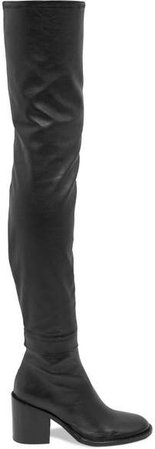 Stretch-leather Thigh Boots - Black