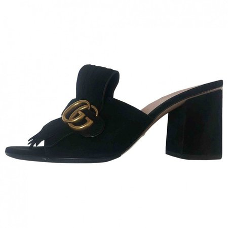 Marmont Black Suede Sandals