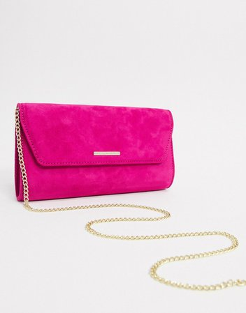 Lipsy envelope clutch with chain strap in raspberry | ASOS