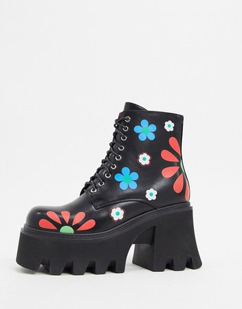 Lamoda heeled boots in black flower print | ASOS