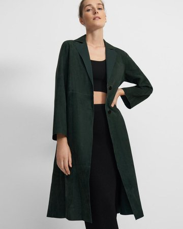 Clean A-Line Coat in Suede Jersey