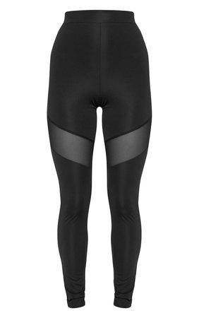 Black Mesh Thigh Gym Legging | Active | PrettyLittleThing USA