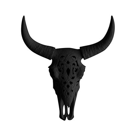 "WALL CHARMERS Carved Black Faux Steer Skull - 19"" Faux Taxidermy Animal Head Wall Decor - Handmade Farmhouse Decor: Amazon.ca: Home & Kitchen"