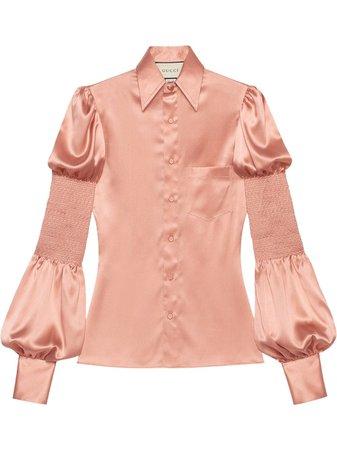 Gucci, smocked puff sleeve satin shirt