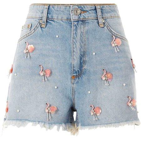 Blue Annie flamingo denim hot pants - Casual Shorts - Shorts - women