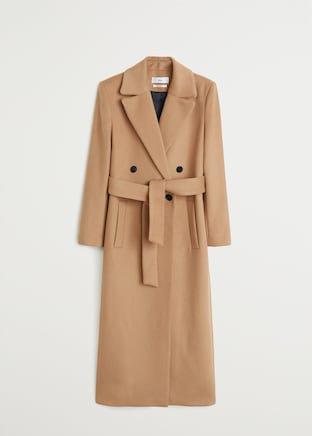 Belted wool coat - Women | Mango USA beige