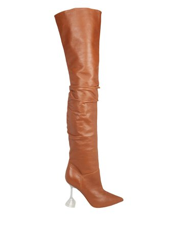 Olivia Glass Heel Tall Leather Boots