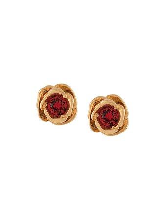 Versace, Rose Embossed Earrings