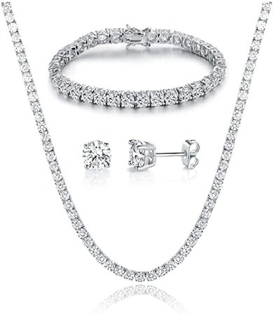Amazon.com: GEMSME 18K White Gold Plated Tennis Necklace/Bracelet/Earrings Sets Pack of 3: Jewelry