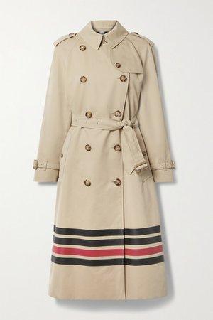 Striped Cotton-gabardine Trench Coat - Beige