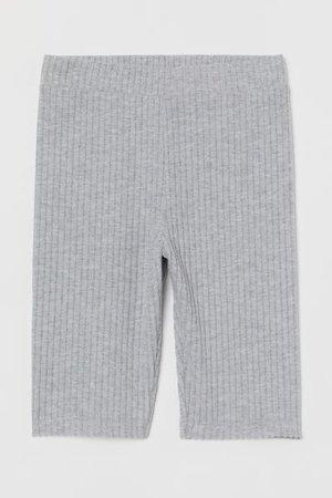 Ribbed Biker Shorts - Light gray - Ladies | H&M US