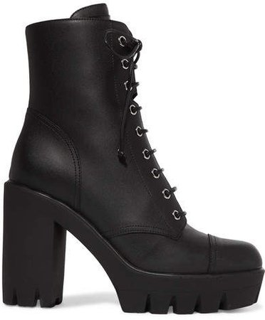 Leather Platform Ankle Boots - Black