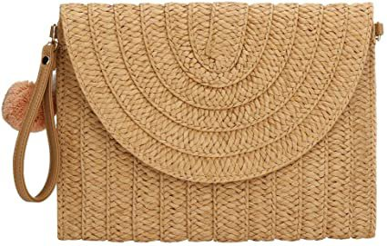 Womens Straw Clutch Summer Evening Handbag Beach Purse Woven Straw Bag Envelope Clutch (Khaki)