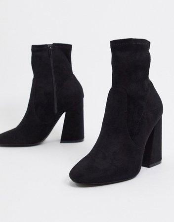 ASOS DESIGN Echo heeled sock boots in black | ASOS