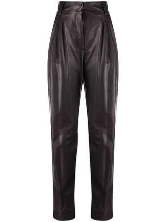 Dolce & Gabbana pleated tapered leather trousers - FARFETCH