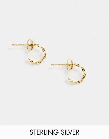 ASOS DESIGN sterling silver with gold plate mini hoop earrings in twist design | ASOS