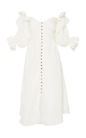 Cult Gaia Simona Off-the-Shoulder Midi Dress white
