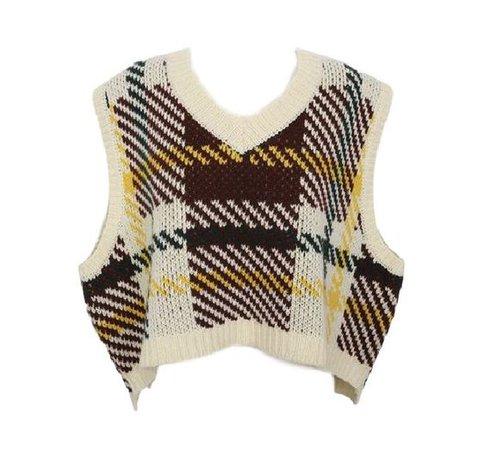High-Low Hem Check Pattern Knit Vest