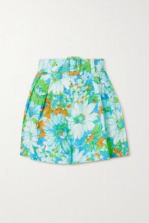 Net Sustain Priscilla Belted Floral-print Linen Shorts - Blue