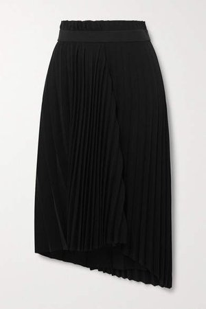 Asymmetric Pleated Crepe Midi Skirt - Black