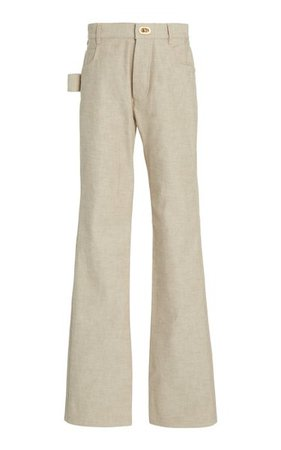 High-Rise Cotton Straight-Leg Pants By Bottega Veneta   Moda Operandi