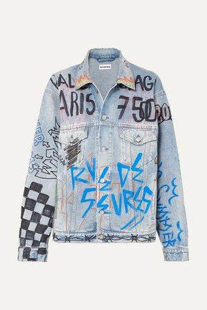 Oversized Printed Denim Jacket - Mid denim