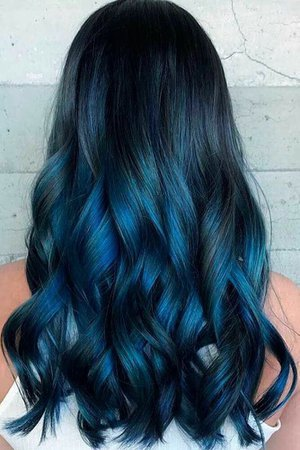 Blue Black Long hair