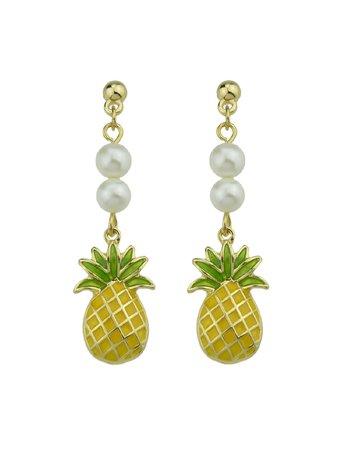 Enamel Pineapple Pattern Dangle Earrings For Women