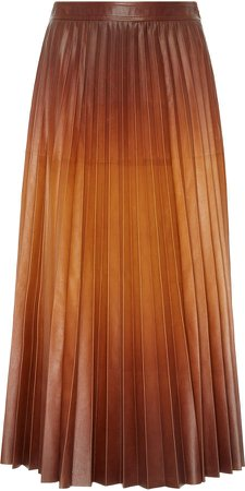 Pleated Leather Maxi Skirt Size: 44