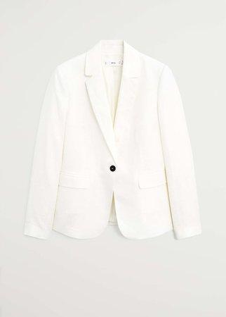 Linen button blazer - Women   Mango USA