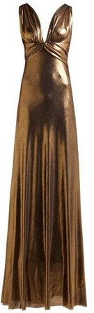 Azra Draped Lame Gown - Womens - Gold
