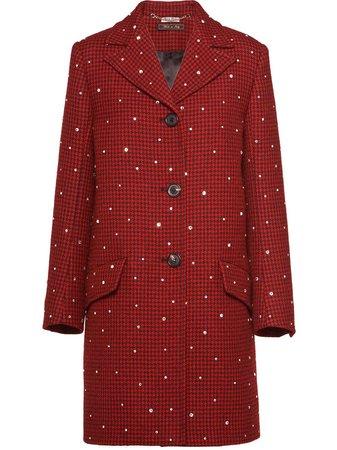 Miu Miu Houndstooth Check Coat Ss20 | Farfetch.com