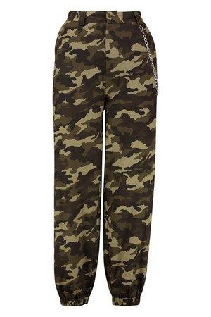 Camo Chain Side Cargo Trousers | Boohoo