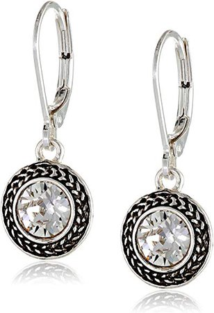 Silver-Tone Crystal Swarovski Stone Leverback Drop Earrings