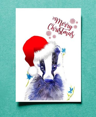 Printable card Merry Christmas badger Baby animals last moment | Etsy