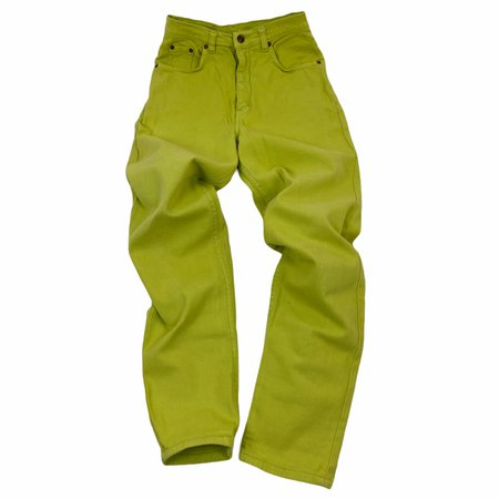 Vintage pants woman. Jeans 5 tasche in denim verde... - Depop